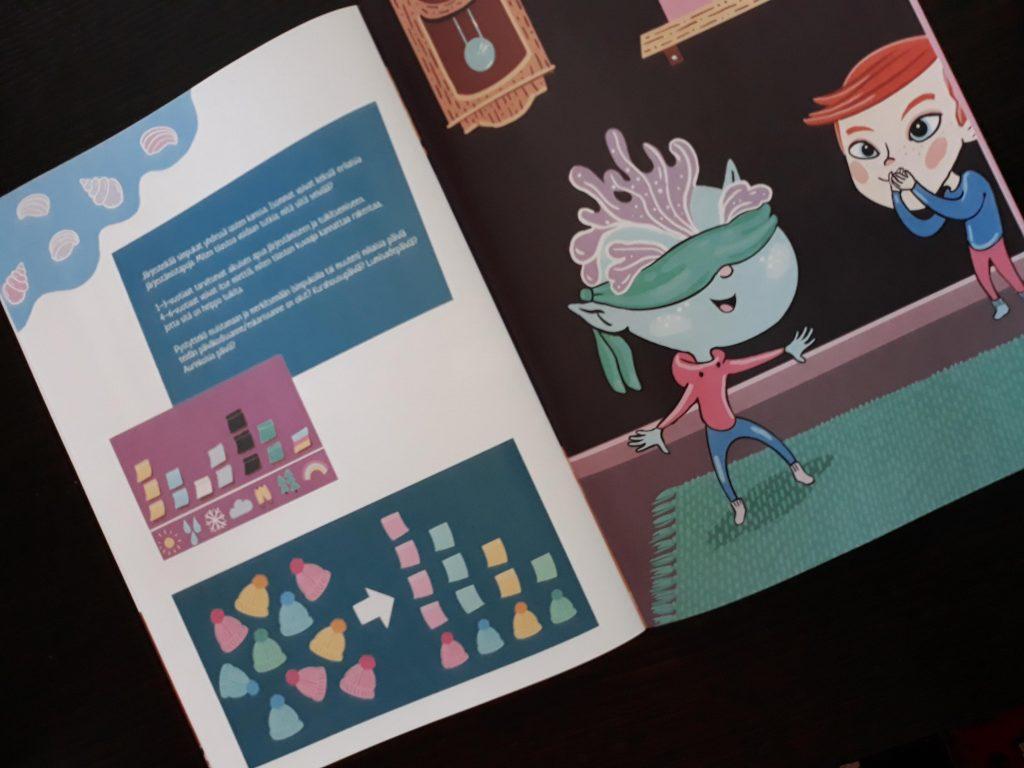 foto av boken Lelan matematiikkaseikkailu päiväkodissa (Lelas matematikäventyr i dagis)