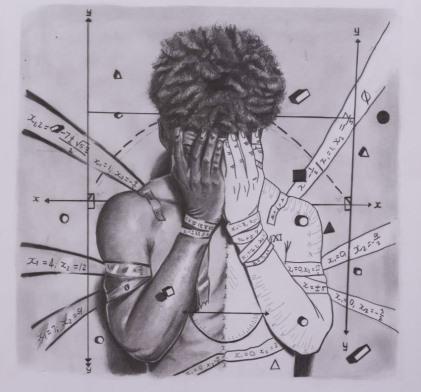 vitruviuksen mies painaa päänsä käsiin. taustalla matemaattisia kaavoja