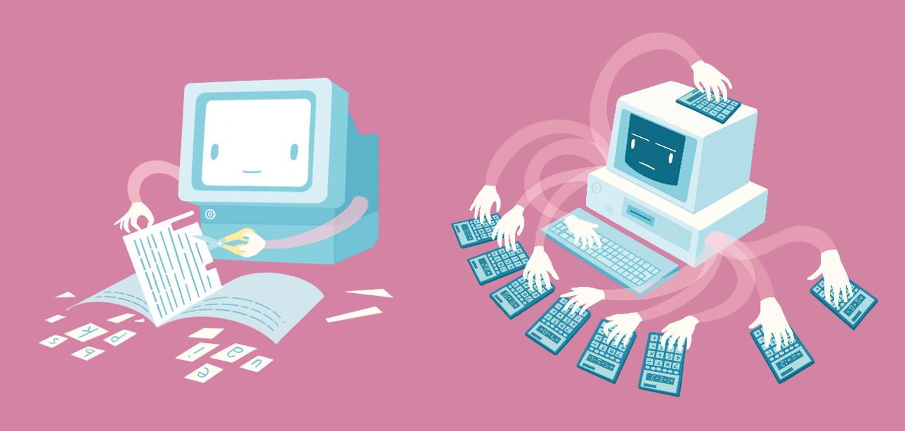 kaksi piirrettyä tietokonetta, joista toinen leikkaa vihkosta kirjaimia ja toisella on kymmenen kättä laskimilla